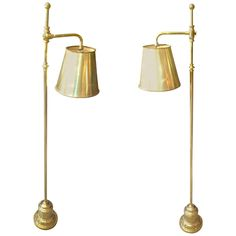 Pair of English Brass Floor Lamps | From a unique collection of antique and modern floor lamps at https://www.1stdibs.com/furniture/lighting/floor-lamps/