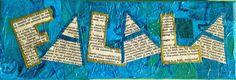 "Holiday Countdown Day 1 - Play on Words Design - Original Mixed Media Collage - ""Celebration Fa La La"""