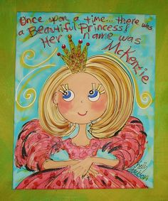 There Once Was A Princess MEDIUM  size canvas Personalized Princess Painting. $50.00, via Etsy.