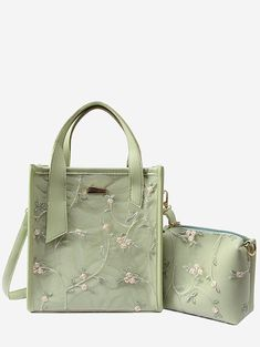 811f08abf3 Floral Lace Decorated 2 Pieces Tote Bag Set - GREEN Floral Bags