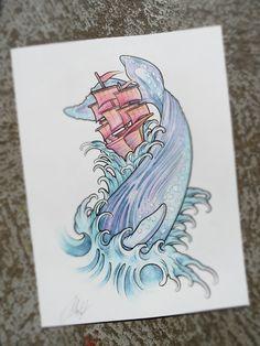 Série de Sketch (Tattoo Watercolor) sur le thème de la mer  24x32 cm - technique aquarelle et marqueur