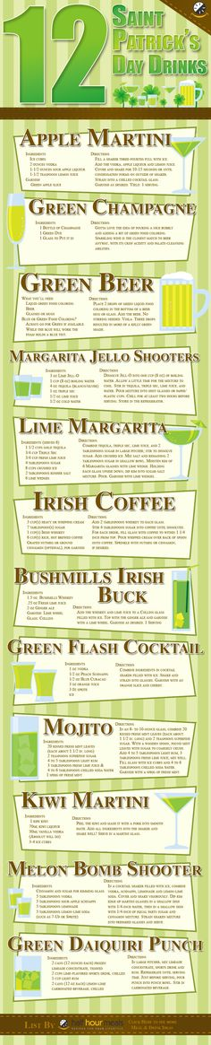 St. Patrick's Day Drink Recipes! Woo hoo! :)