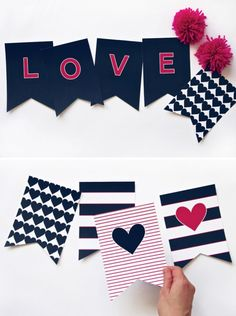 I try to do a little Valentine's Day breakfast with a few small gifts, and I've got to get busy with those plans soon. So I've started searching out free Valentine's printables, and today I'm featuring my favorite free Valentine's Day printable banners. Valentine Day Crafts, Valentine Decorations, Love Valentines, Holiday Crafts, Valentine Banner, Printable Banner, Free Printables, Ideias Diy, Party Banners