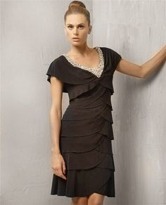Black tiered dress with sleeves