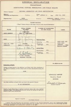 This is the Customs and Immigration Form filled out by Apollo 11 astronauts upon returning from the moon. No joke!
