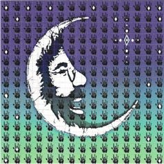 """""""Jerry Moon"""" Blotter Art    Originally the design was created in wax for a batik on Grateful Dead Tour by the artist who later did the central image on Phil Lesh's autobiography book cover and many Dick's Picks cd covers. A loving tribute to Jerry Garcia.    In front of Jerry is a Dark Star and the design is set against a nightfall of diamonds.     http://shakedowngallery.com"""
