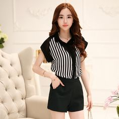 2015 summer style women's casual striped blouses blusas femininas ladies plus size chiffon blouses Striped women shirt tops-in Blouses & Shirts from Women's Clothing & Accessories on Aliexpress.com | Alibaba Group