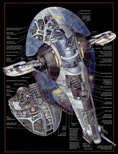 Slave 1 Cross Section - Boba Fett's ship in Star Wars
