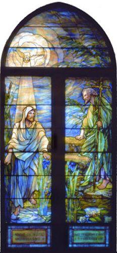 Tiffany Windows - Baptism of Christ.  1st Presbyterian Church sanctuary, Topeka, KS.