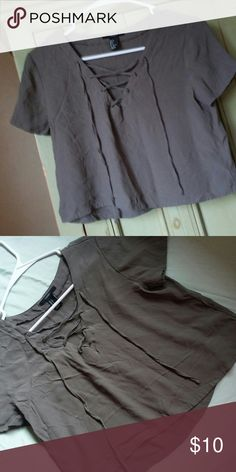 crop top Army crop top/ used once like new! Forever 21 Tops Crop Tops