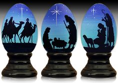Nativity Triptych - hand painted wooden egg by The Egg Man Alan Traynor