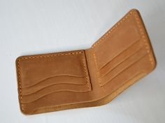 Hecho a mano cartera de cuero cartera mano coser marrón Bifold