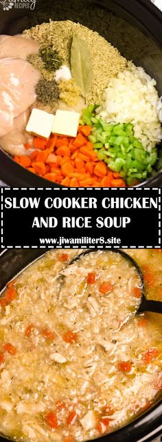 SLOW COOKER CHICKEN AND RICE SOUP - #recipes