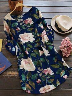16e6a96ab60 Women Maternity Clothes - Women Casual Plus Size Floral Print Long Sleeve  Linen Mini Party Dress XXXXL Blue -- For more information