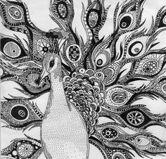 Cool idea for Zentangles lesson...each student could design one feather for a cool group project.
