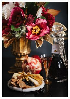 Look 3: gold painted magnolia leaves100 Layer Cake's Bubbly bar
