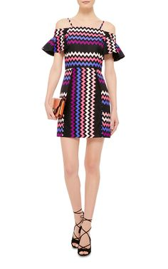 Off The Shoulder Dress With Chevron Print by MSGM Now Available on Moda Operandi