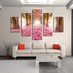 $36.64 - Nice 5 Panels Pink Cherry Blossom Trees Fallen Flowers Deep Long Path Road Picture Print Wall Canvas Painting custom and drop ship - Buy it Now!