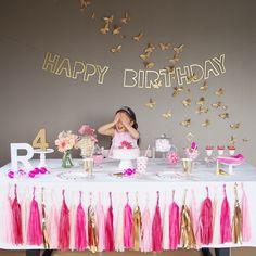 Butterfly Pink Birthday Party⋈ #pink #papillon #butterfly #kids #birthday #party #gold #girl #princess