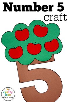Number crafts are great for preschool and kindergarten children working on number recognition. These patterns are kid friendly and very easy to use! # Easy Crafts kindergarten Number Craft {Five} Preschool Number Crafts, Preschool Learning, Preschool Activities, Teaching, Numbers Kindergarten, Kindergarten Crafts, First Grade Crafts, Apple Activities, Back To School Crafts