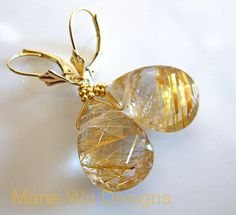Golden Rutilated Quartz14k Solid Yellow Gold by mariewudesigns, $450.00