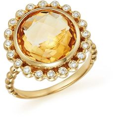 Citrine and Diamond Statement Ring in 14K Yellow Gold ($2,340) ❤ liked on Polyvore featuring jewelry, rings, yellow gold rings, diamond band ring, bezel diamond ring, gold band ring and band rings