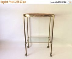 Vinatge Mid Century Hollywood Regency French Style Brass Small Scale Drinks Trolley Bar Cart
