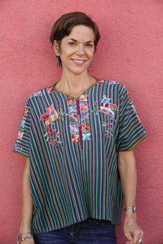Handwoven Maya Vintage Bird & Floral Embroidered Huipil from Nahuala, Guatemala Guatemalan Textiles, Cultural Identity, Indigo Dye, Vintage Birds, Kind Words, Blue Stripes, Maya, Hand Weaving, Floral