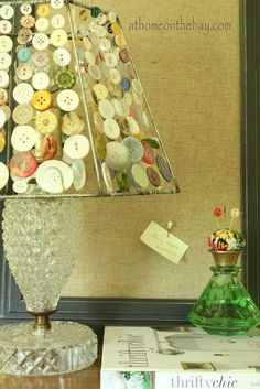 Beautiful DIY Lamp Shade with Buttons and Glass Base by Mary @ At Home on the Bay