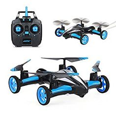#10: SZJJX Air-Ground Quadcopter RC Drone 6-Axis Gyro Flying Car 2.4Ghz 6CH Land/Sky 2 Modes Helicopter 2 in 1 Toy (Blue) Drones, Drone Quadcopter, Remote Control Drone, Pokemon Birthday, Flying Car, Spiderman Art, Underwater Photography, Technology Gadgets, Toys