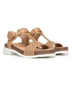 9905dd34766 Loving this Tan Perforated Hinda Leather Sandal on  zulily!  zulilyfinds  Sandalias