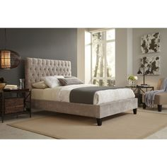 Leggett & Platt - Home Textiles Reims Complete Bed with Upholstered Exterior and Button-Tufted Headboard, Vanity Mouse Finish, Queen Tall Headboard, Tufted Bed, Upholstered Platform Bed, Upholstered Beds, King Headboard, Beige Headboard, Bed Upholstery, Platform Beds, Black Queen
