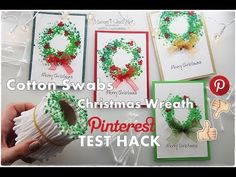 Cotton Swabs Christmas Wreath Painting Pinterest ART Hack Test ♡ Maremi's Small Art ♡ - YouTube
