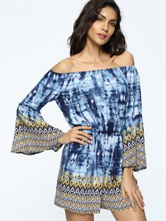 elastic waist slit pocket tie/dye vacation autumn summer short rompers, Off Shoulder Tie/Dye Bell Sleeve Romper Casual Dresses, Short Dresses, Casual Outfits, Off The Shoulder Playsuit, Cheap Dresses Online, Plus Size Jumpsuit, Fashion Seasons, Jumpsuits For Women, Bell Sleeves