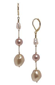 Dabby Reid Women S Illusion Pearl Faux Long Drop Earrings Multi Http