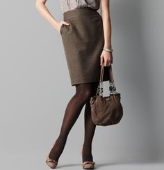 Professional Style Tips: Best Colors to Wear to the Office  #styletips #brownskirt