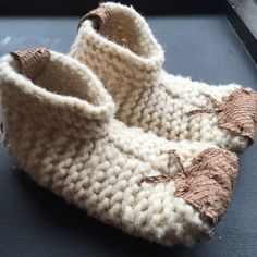 Wool booties hand made in India.