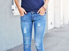 DIY Distressed Denim from Old Navy jeans.