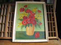 Vintage Flower Oil Painting Still Life of Flowers Orange and Green Cottage Chic Art
