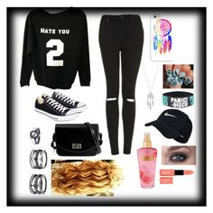 """""""Do you take black for granted?"""" by elaabad on Polyvore featuring Topshop, Converse, Casetify, Lucky Brand, NIKE, Victoria's Secret, NYX and Lulu*s"""