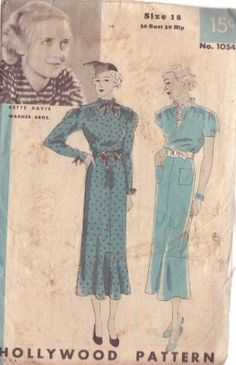 Hollywood Pattern 1054 Misses' 30's Dress 2 Variations Sz 18 Bette Davis | eBay