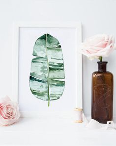 Banana leaf wall art print on a white background. Painted in watercolor. Tropical decor for the bohemian themed modern home decor. Hello, Welcome to OnceUponPaperCo print shop creating tasteful bohemian inspired wall art prints for modern interior designs and happy homes. We love a