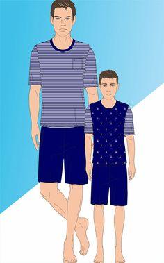 MARTÍN - Linha de listrados de Meia malha penteada com bolso e bordado Mixte Men´s. Linha infantil coordenada com a Ref. 8335.