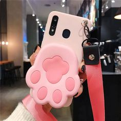 1PC Kawaii 3D Collection Zipper Wallet Phone Case for iPhone - For iphone 8 / pink paw