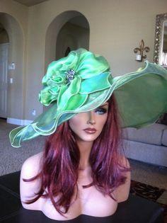 Large brim green hat...perfect for weddings, races, tea, church