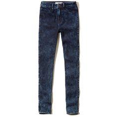 Hollister High Rise Jean Leggings (32 BRL) ❤ liked on Polyvore featuring pants, leggings, dark acid wash, high-waisted leggings, high waisted trousers, acid wash high waisted jeggings, blue jean leggings and acid wash jeggings