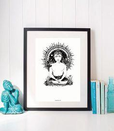 Hey, I found this really awesome Etsy listing at https://www.etsy.com/listing/564803524/buddha-original-ink-illustration