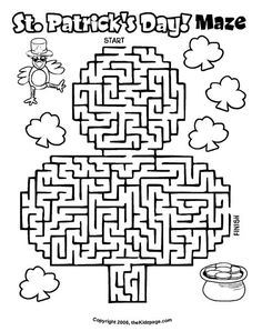 St. Patrick's Day Maze - Free Coloring Pages for Kids - Printable Colouring Sheets