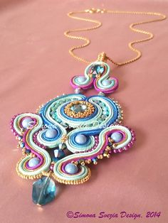"""Iride"" soutache pendant https://www.etsy.com/it/shop/PerlineeBijoux"