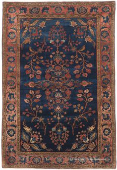Manchester Kashan, 3ft 3in x 4ft 11in, Circa 1900.  This superbly balanced mat in the prized Persian Kerke Kashan style is a strikingly artistic antique Oriental rug that will add a luxurious character to a small space. It offers an exceptional openness in its pattern, aided by the tremendous depth of its incredibly vibrant blue field and extraordinarily lustrous lamb's wool.  http://www.claremontrug.com/press/art-and-antiques-major-collectible-persian-rug-event.aspx